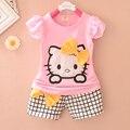 Продвижение Летом 2016 Новых Hello Kitty Печати детские девушки одежда набор Хлопок материал Плед Шорты костюм младенца устанавливает t A046