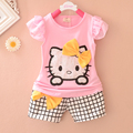 Promoción 2016 Verano Nueva Hello Kitty de Impresión de ropa de los bebés fijó material de Algodón A Cuadros Pantalones Cortos del juego del bebé fija t A046