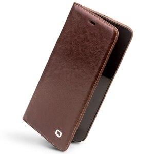 Image 4 - Capa carteira flip de couro genuíno qialino, proteção estilo carteira para xiaomi mi 6, mi6 saco do telefone da ranhura