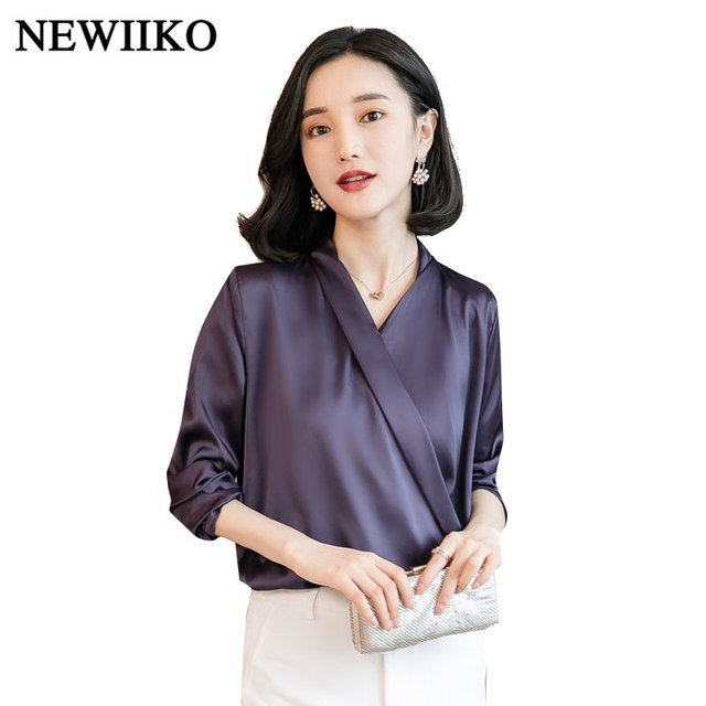 796daa3f0c0 Fashion Women solid color loose Tops V-Neck Long Sleeve Blouses Office  Shirts Ladies Work Wear Casual spring Autumn Basic Shirt