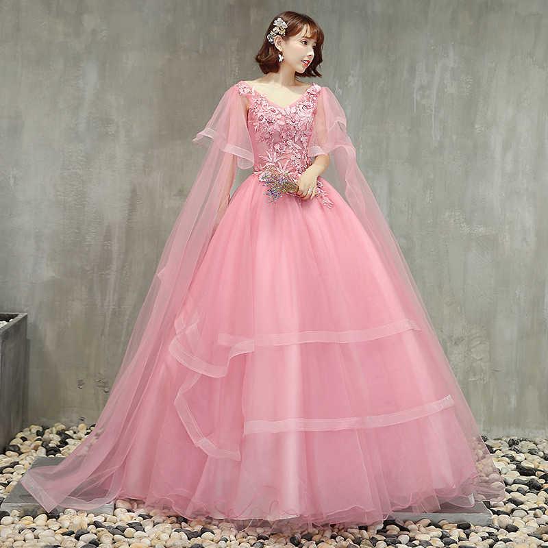 V-צוואר ורוד Quinceanera שמלות אפליקציות חרוזים Vestido Quinceanera נסיכת שמלות 2019 Vestido נשף 15 Anos