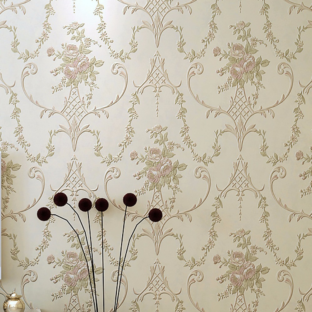 beibehang European luxury fine imitation embroidery non - woven garden garden flowers 3D three - dimensional relief wallpaper a three dimensional embroidery of flowers trees and fruits chinese embroidery handmade art design book
