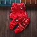 Розничная, Оптовая продажа, 7 - 24 м 2015 новорожденных мальчиков осень весна бренд 2 шт. комплект одежды дети костюм ребенка + брюки устанавливает
