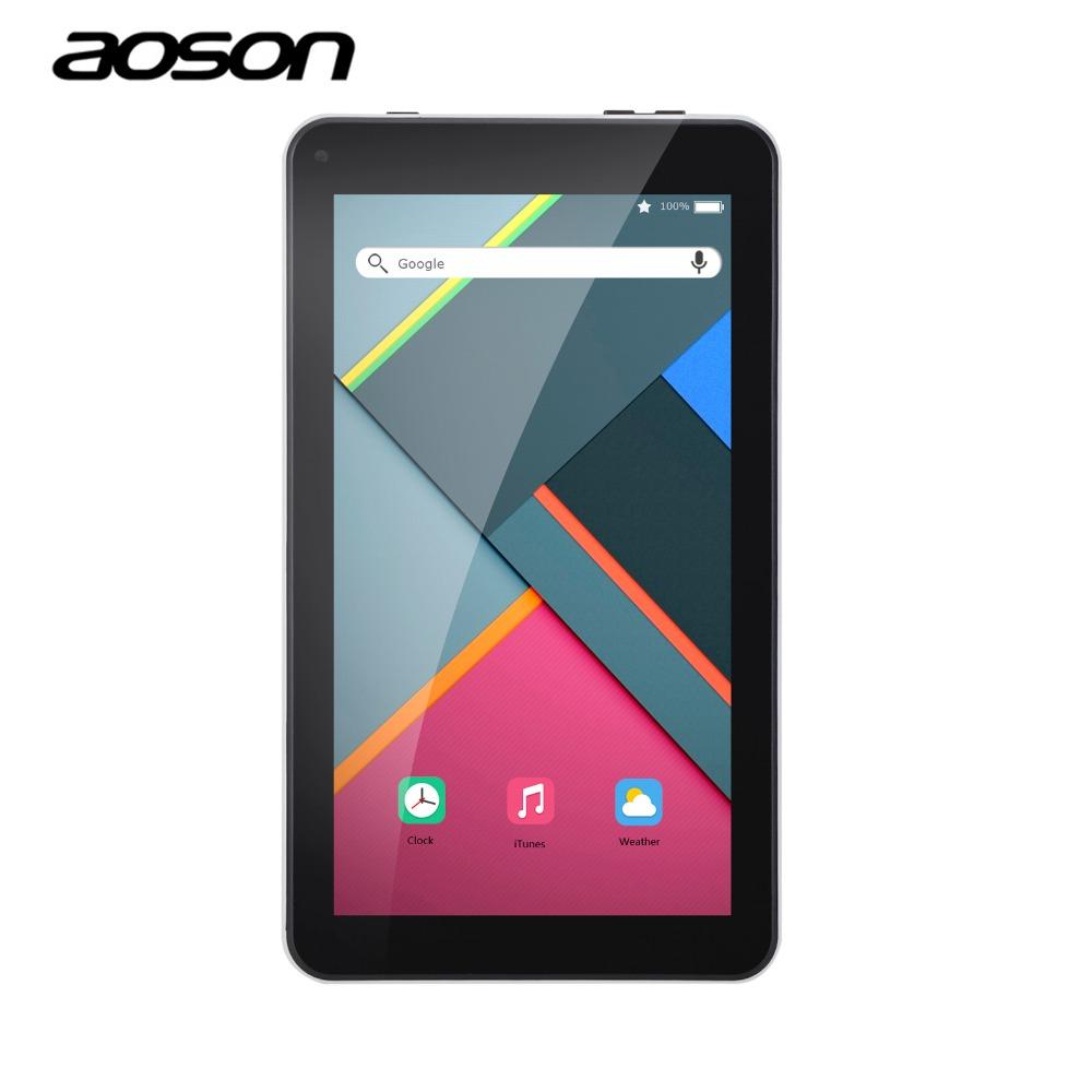 Prix pour Nouveau 7 pouce Comprimés PC Aoson M751 Android 5.1 PCs Comprimés 1G 8G Quad Core IPS Écran 1024*600 Bluetooth Double Caméras OTG FM WiFi
