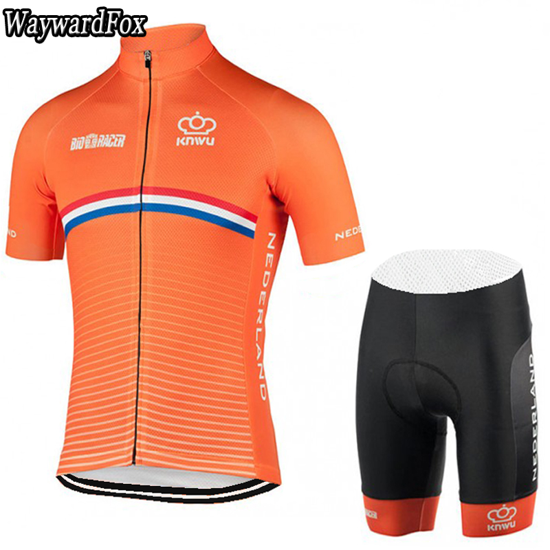 buy popular 3b049 4b2c5 2017 NEW Netherlands Orange Cycling Jersey Bib Shorts Kit Men's team  Cycling Clothing Short Set Bike Wear Road gel pad summer
