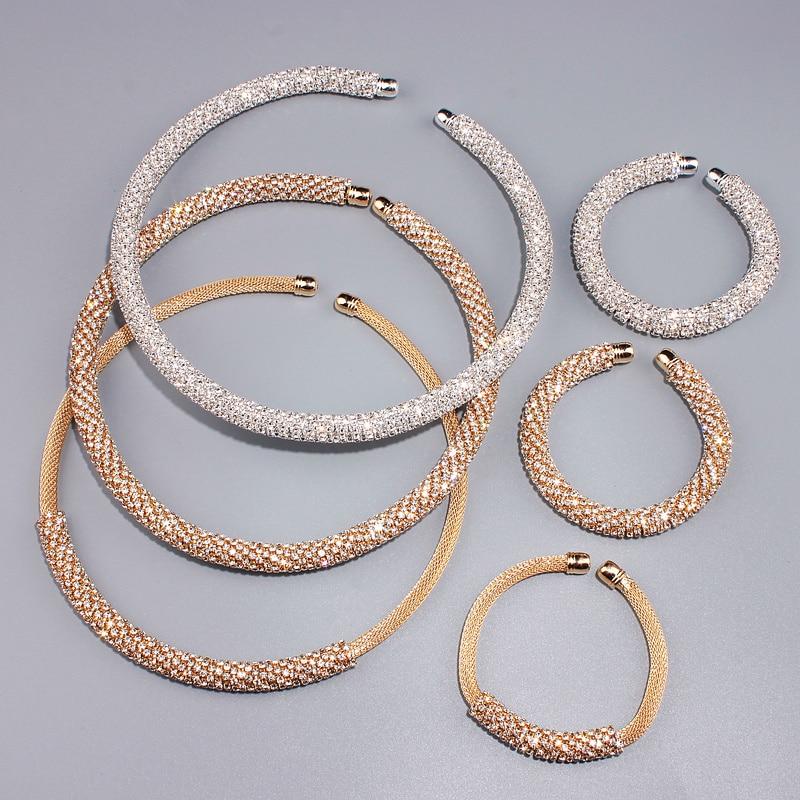 Novi Disign Luksuzni Maxi Crystal Ogrlica Ogrlica Zlato / Srebro - Modni nakit - Foto 6