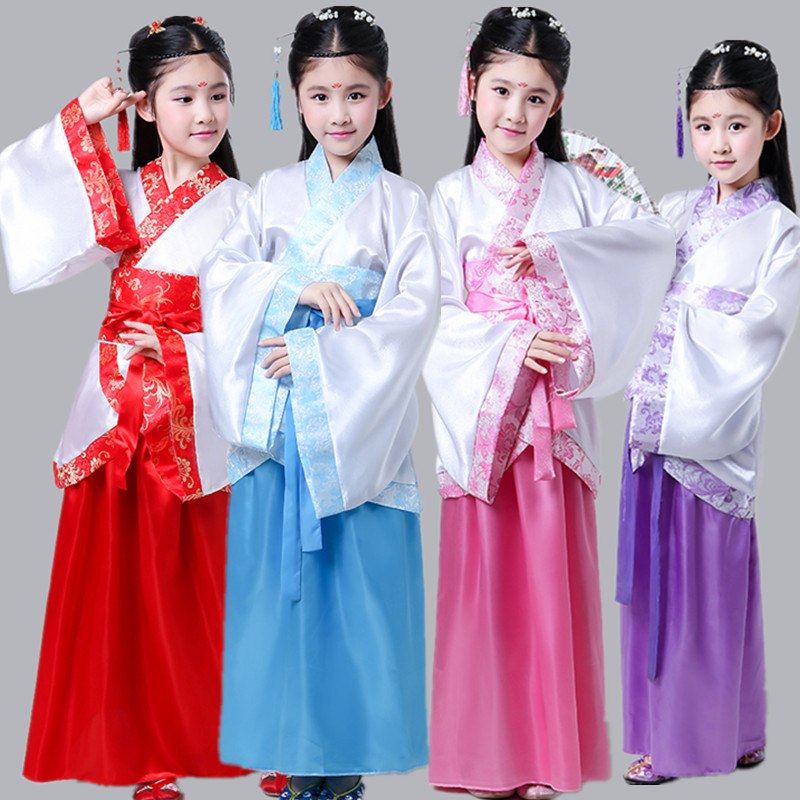 chinese folk dance costume for kids tang dynasty dress beautiful dance opera costumes Child Hanfu children chinese dance clothes