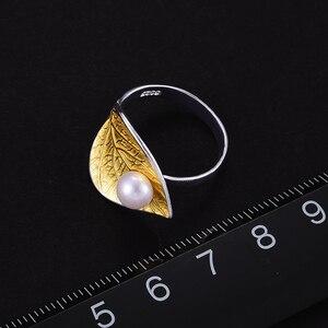 Image 4 - Lotus Plezier Echte 925 Sterling Zilver Natuurlijke Parel 18K Bladgoud Ring Fijne Sieraden Creatieve Open Ringen Voor Vrouwen kerstcadeau