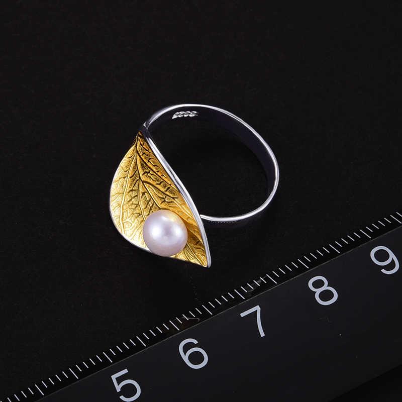 Lotus Vui Thật Nữ Bạc 925 Ngọc Trai Tự Nhiên Mạ Vàng 18K Vòng Lá Mịn Trang Sức Sáng Tạo Thiết Kế Mở Nhẫn phụ nữ BIJOUX