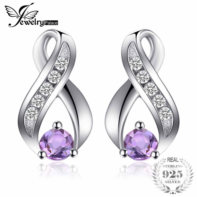 JewelryPalace Fashion 0.3ct Round Natural Amethyst Stud Earrings For Women Solid