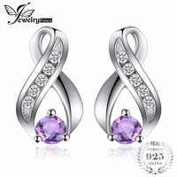 Jewelrypalace Fashion 0.3Ct Round Natural Amethyst Stud Earrings For Women Solid 925 Sterling Silver Gemstone Fine Jewelry