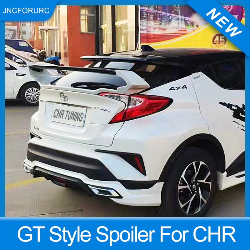 Rear Trunk Lid Car Spoiler For Toyota CHR 2016 17 18 19 FRP Material Black White Carbon Color Spoiler Wings For CHR GT Style