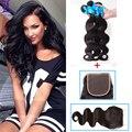 Peruvian Hair Natural Black 1b Virgin Hair 4*4 With Bundles Peruvian Body Wave With Closure  Bundles Middle/Free/Three Way Part