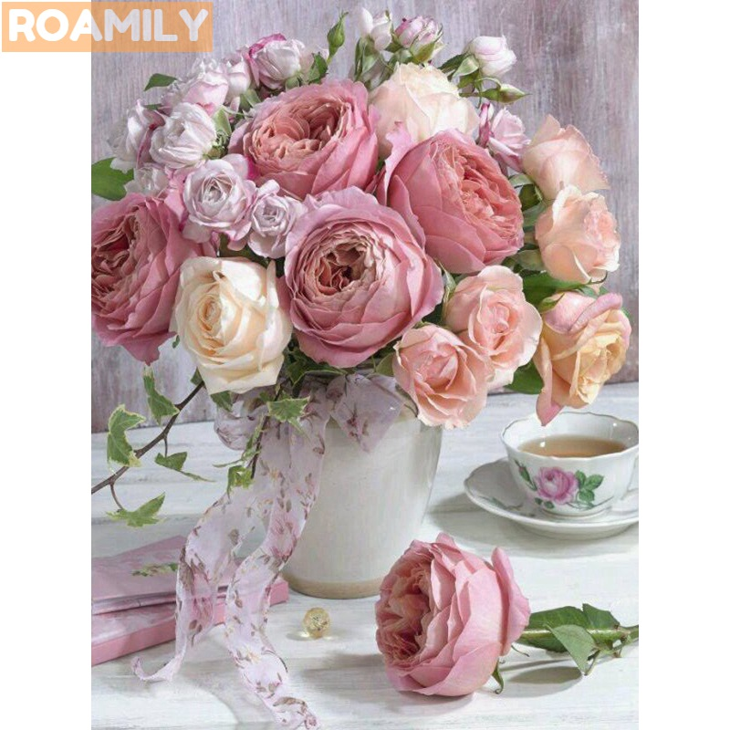 ROAMILY,5d Full Square Diamond Painting Flowers,Roses,Peonies,Fruit,Beautiful Scenic,Dia ...
