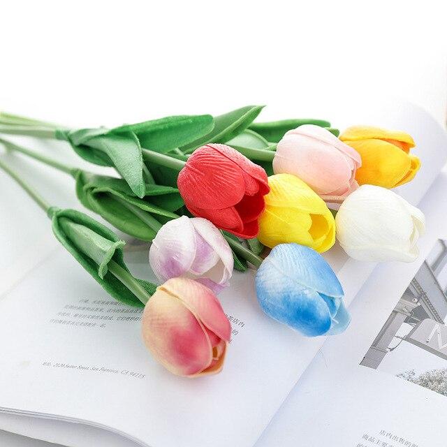 S Pring Home Dekoracje ślubne Sztuczne Tulipany Flowerpu Fałszywe