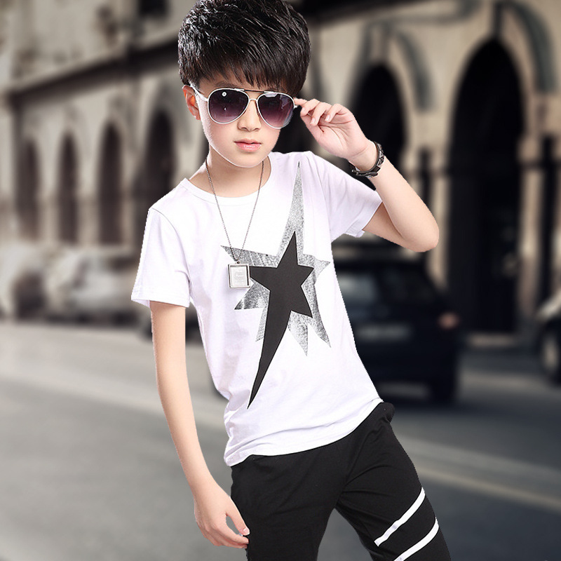 kids boys clothes summer suit 2016 with short sleeves t-shirts + pants 5-11 year olds