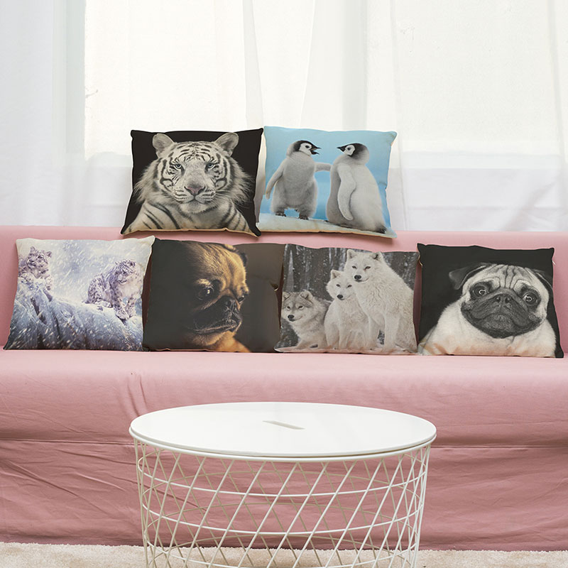 Cushion Cover animals Pillow Case 3D tiger penguin design Home Decorative Throw Pillow Cover