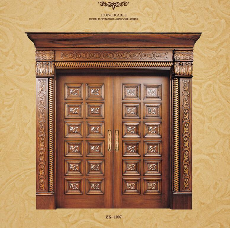 2019 новый дизайн распашные двери внутренняя Массивная древесина двери античный деревянные входные двери ZK1007