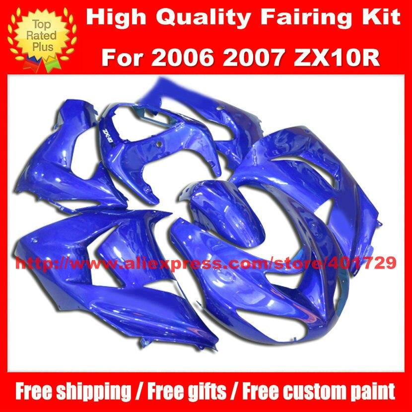 Custom race fairing kit for Kawasaki ZX10R ZX-10R 06 07 2006 2007 free heatshield bright blue body work