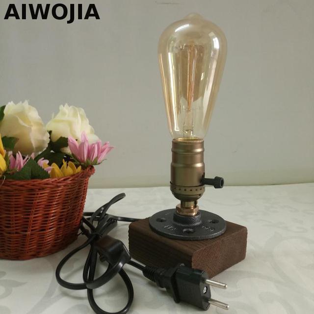 Desk Lamp Vintage Table Lamp Wood Edison Iron Cage Lamps Shade Retro ...