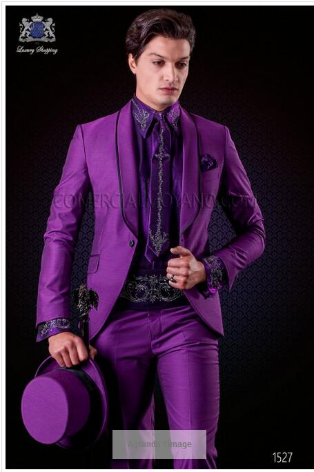 Latest Coat Pant Designs Italian Purple Tuxedo Men Suit Slim Fit 2 Piece Blazers Custom Groom Prom Suits Masculino Jacket+Pant S