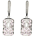 Beautiful Pink Kunzite, White CZ SheCrown Woman's Engagement Created Silver Earrings 43x13mm