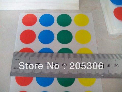 azul amarelo verde etiqueta papel redonda pontos cor item n of08