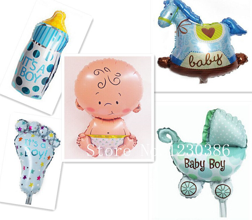 5pcs lot mini balloon baby shower party foil baby boy girl for Balloon decoration for birthday boy