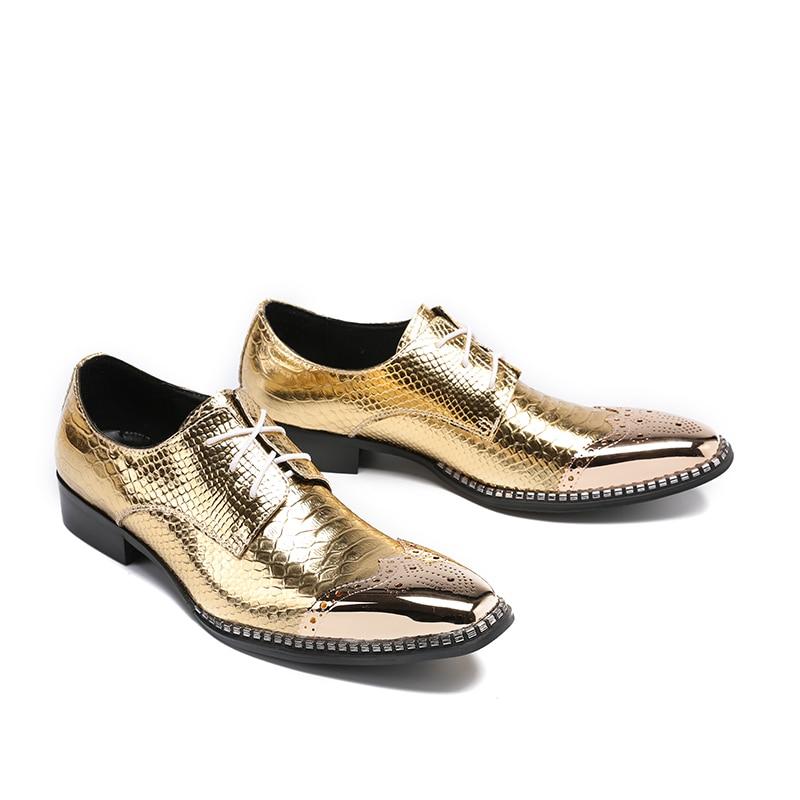 Oxford Oro Peluquería Pie Formales Para Moda {zorssar} Zapatos Hombres De Genuino 46 Del Tamaño Dedo Vestir Cuero z0w465wq