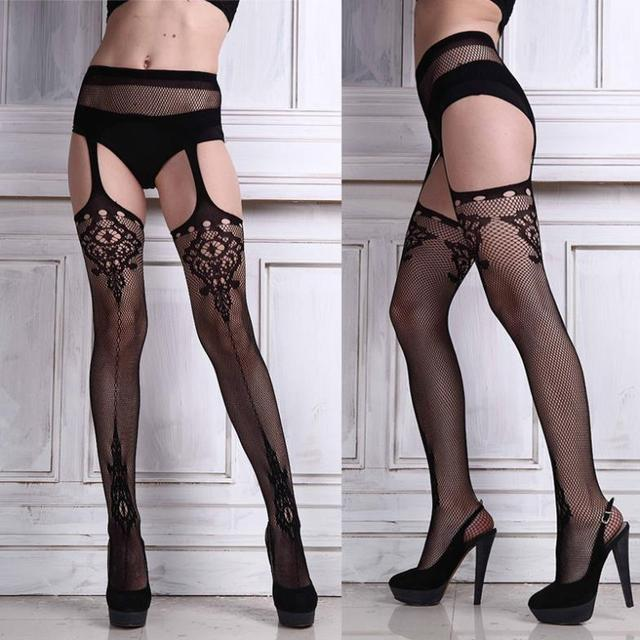 8c5cb760ea850 Free Shipping Sexy Ladies Black Lace Top Thigh-Highs Leggings Stockings Garter  Belt Socks Sexy Women Accessories