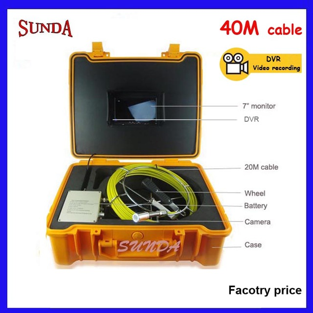40M Sewer Video Recording Camera 7  LCD Screen Drain Pipe Inspection DVR 12 Led with  sc 1 st  AliExpress.com & 40M Sewer Video Recording Camera 7
