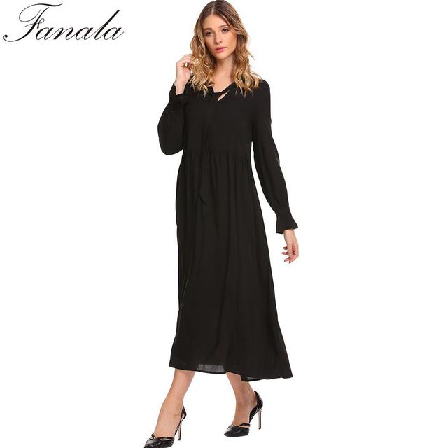 0b5eca9bac Solid Tie-Bow Neck Long Sleeve Women Casual Loose Fit Smock Maxi Dress