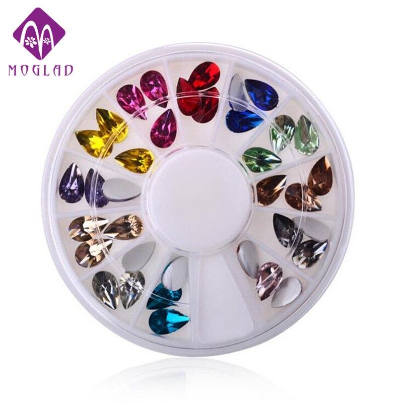 6cm Nail wheel decoration water drop nail rhinestones 3D charm nail gem stones nail DIY jewelry