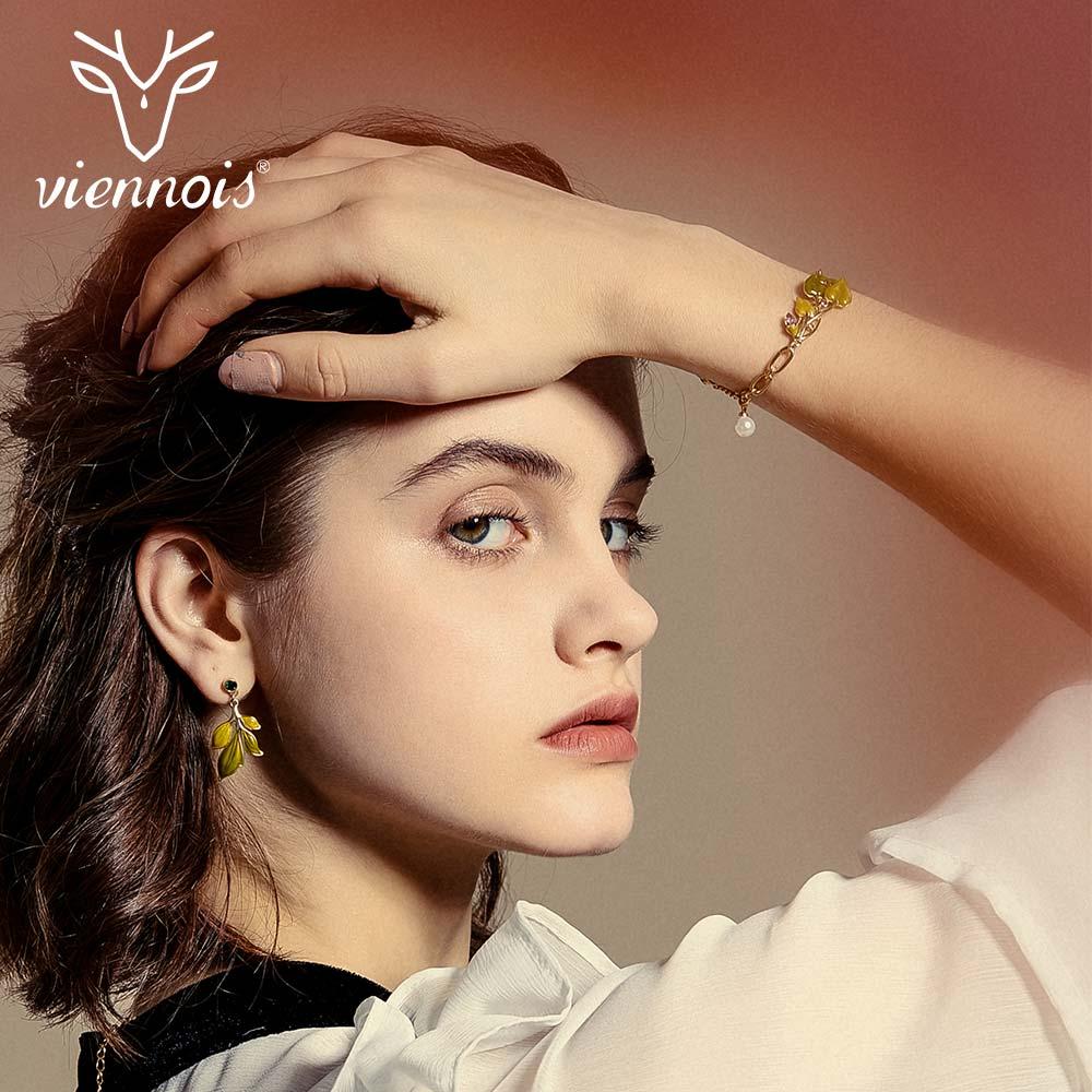 Viennois Chain-Bracelets Rhinestone Romantic Bangles Jewelry Green-Leaf Female Gold-Color