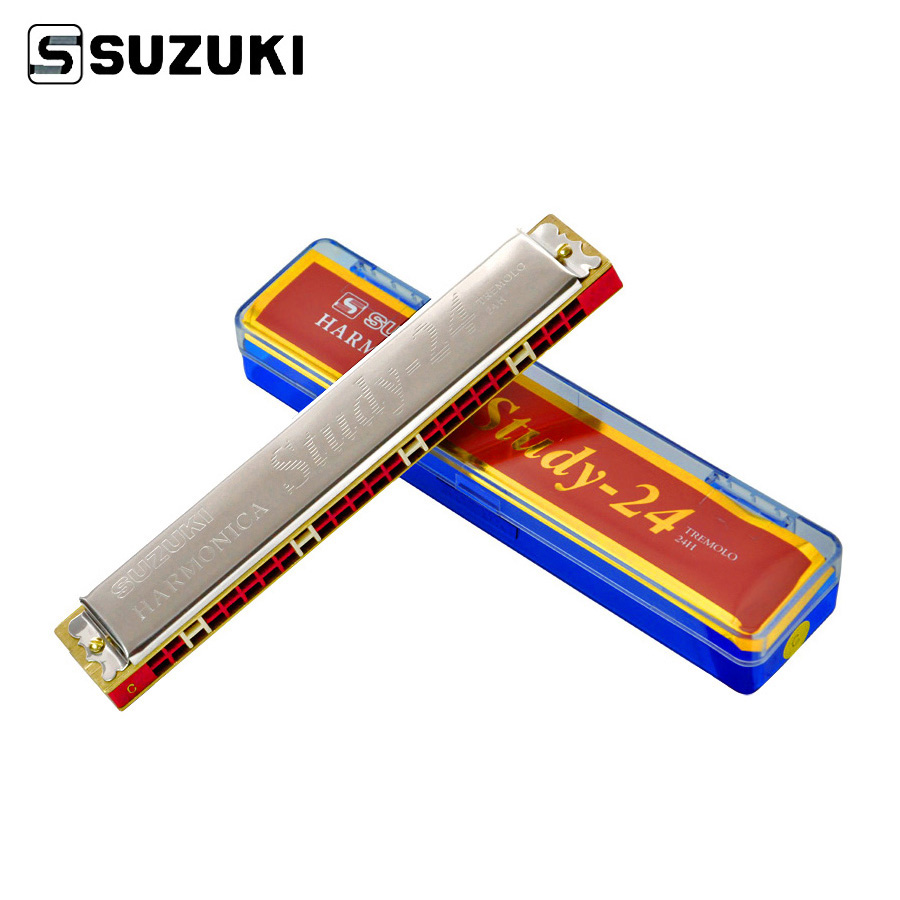 SUZUKI 24 Holes Harmonica Tremolo Key Of C Phosphor Bronze Beginner Musical Instrument With Box