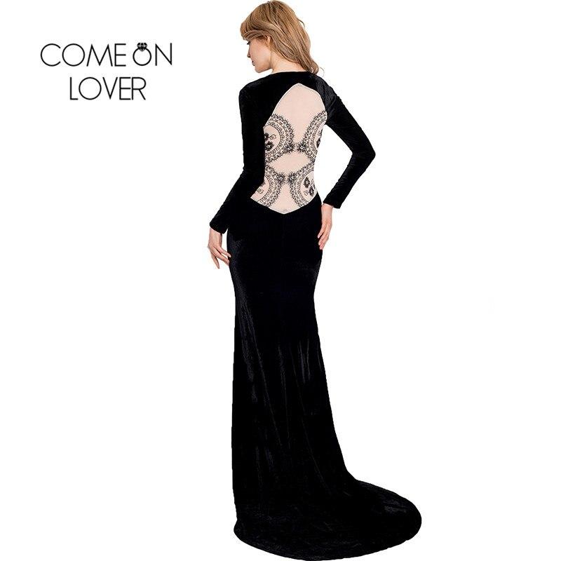 RI70214 высокое качество женские вечерние платья платье с длинными рукавами кружевные вверх Макси платья длинные черные элегантные Вельветов...