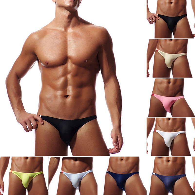 <font><b>Men</b></font> Breathable <font><b>Sexy</b></font> Ice Silk Underwear Briefs <font><b>Men</b></font> Ultra Thin Transparent Low Rise Male Mini Underpant <font><b>Bikini</b></font> U Convex Underwear image