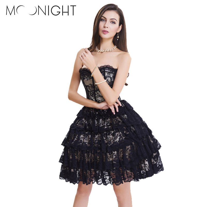 MOONIGHT Vintage Steampunk   Corsets   Dress Gothic Overbust   Corset   Dress Women High Waist Sexy Lace   Bustier   Corselet
