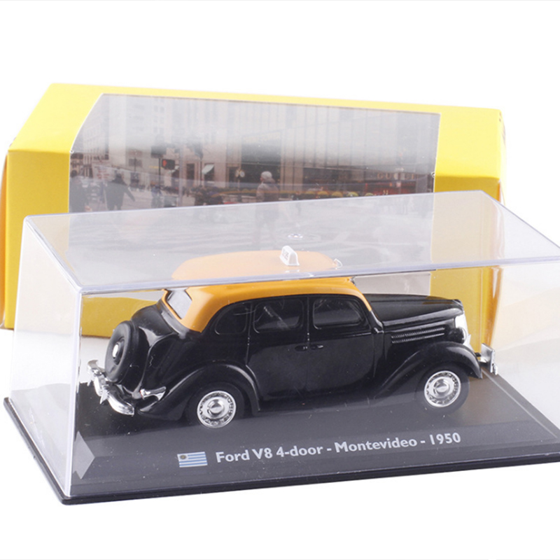 <font><b>1:43</b></font> Scale <font><b>Ford</b></font> V8 4-door Montevideo 1950 TAXI Cab Diecast Metal Car <font><b>Model</b></font> Toy For Kids Gifts Collection Original Box Static image