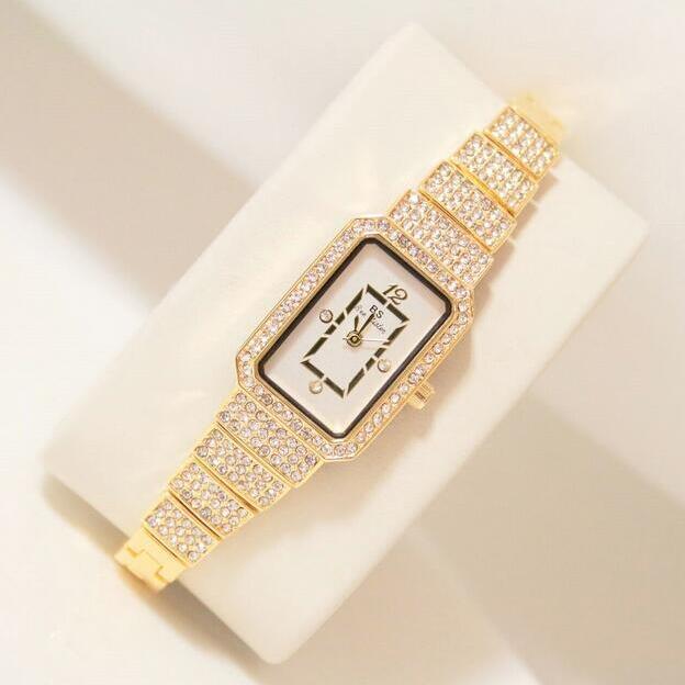 2019 neue Heiße Frauen Uhr Strass Uhr Dame Diamant Stein Kleid Uhren Edelstahl Armband Armbanduhr dame Platz Uhr