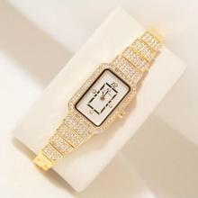 2019 nowy gorący kobiety zegarek zegarek ze strasów pani diament kamień sukienka zegarki bransoletka zegarek ze stali nierdzewnej pani kwadratowy zegar