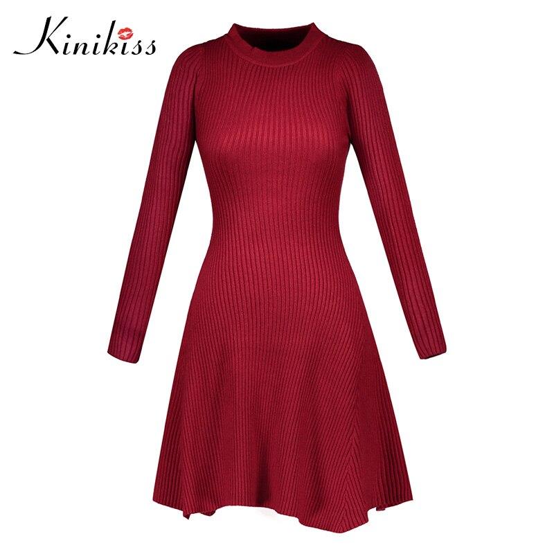 Kinikiss Women Slim A-line Knitted Dress Long Sleeve Christmas Red Party Mini Dress Autumn Winter O-Neck Elegant Sweater Dress женское платье red long dress a line lantern sleeve 2015 lyd0352