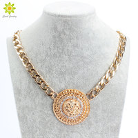 Fashion Vintage Lion Head Necklace For Women Gold Plated Rhinestone Jewelry Necklace Wholesale