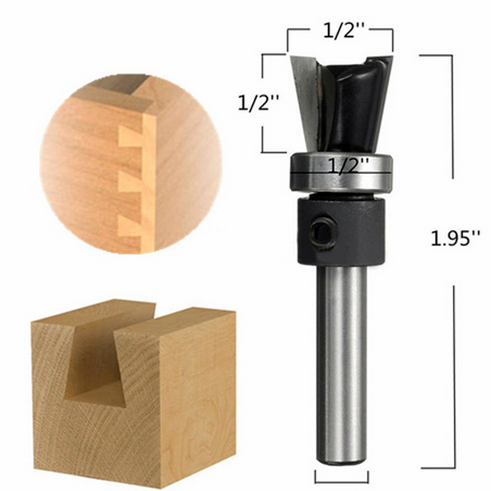 1/4x1/2 Router Bit Carbide Dovetail Joint Router Bit with Bearing Woodworking Cutter High Quality high grade carbide alloy 1 2 shank 2 1 4 dia bottom cleaning router bit woodworking milling cutter for mdf wood 55mm mayitr