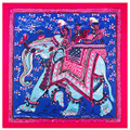 Nueva Alta Calidad 39in 100 cm de Seda de la Marca Bufanda Animal Elefante Pintura Al Óleo Mujeres Pañuelo de Satén Cinta Toalla de Mano SH15102229