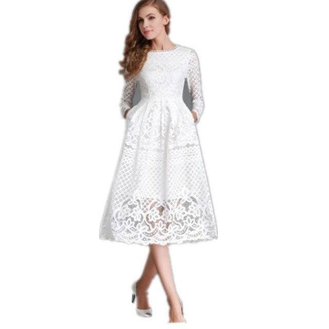 Sommer, Figurbetontes Kleid Mode Neue 2017 Aushöhlen Elegante Spitze ...
