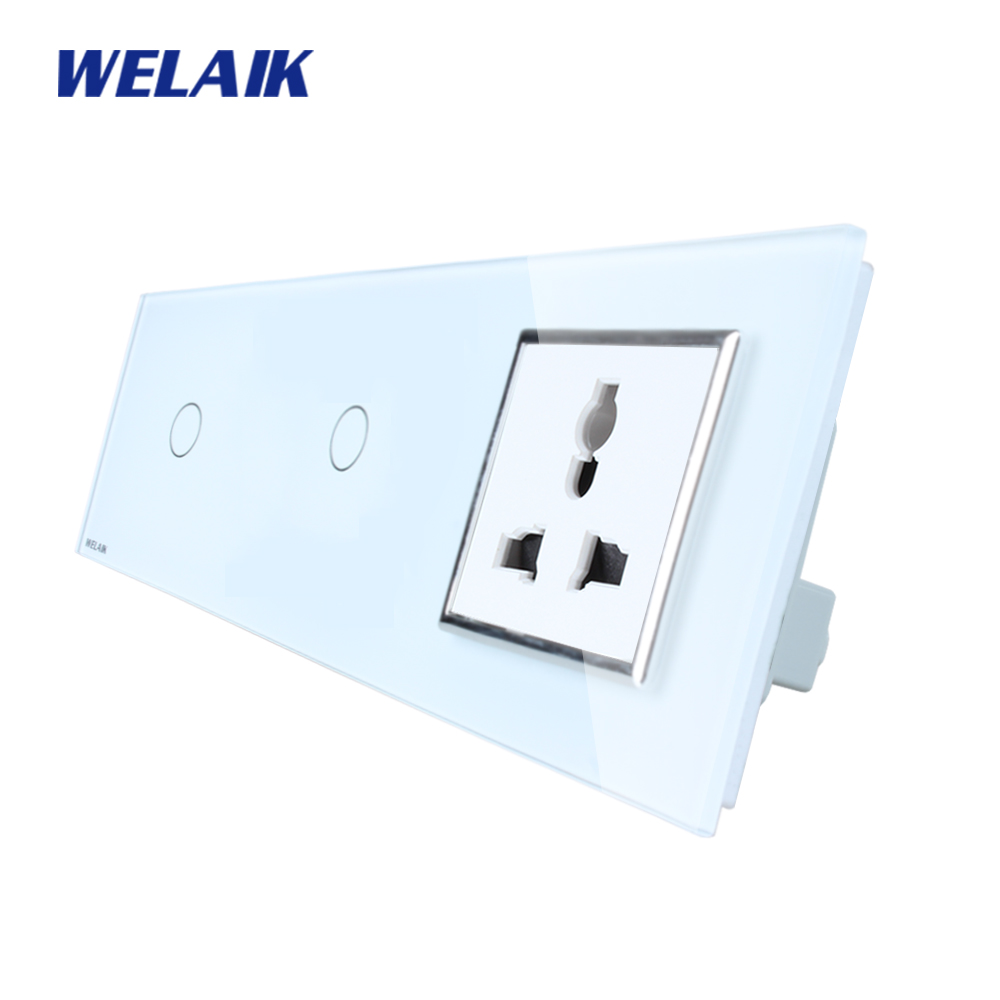 WELAIK Brand 3Frame Multifunct socket Crystal Glass Panel  Wall Switch EU Touch Switch  AC110~250V 1Gang1Way A3911118MUCW/B scinder switched socket package 15 steel frame two or three five hole electrical outlet wall switch panel switch