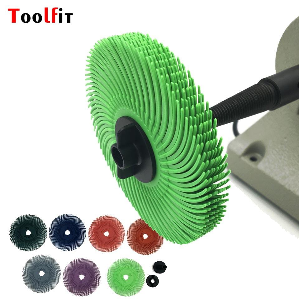 "10pcs Size 3""  Abrasive Brush Wheel Radial Bristle Polishing Brush For Dremel Accessories Rotary Tools   Grit 80# 120# 220# 320#"