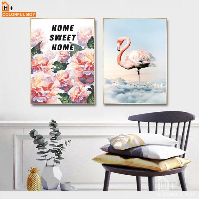 COLORFULBOY Leinwand Malerei Moderne Aquarell Flamingos Hause Zitate  Kunstdruck Poster Mauerbilder Für Wohnzimmer Dekor