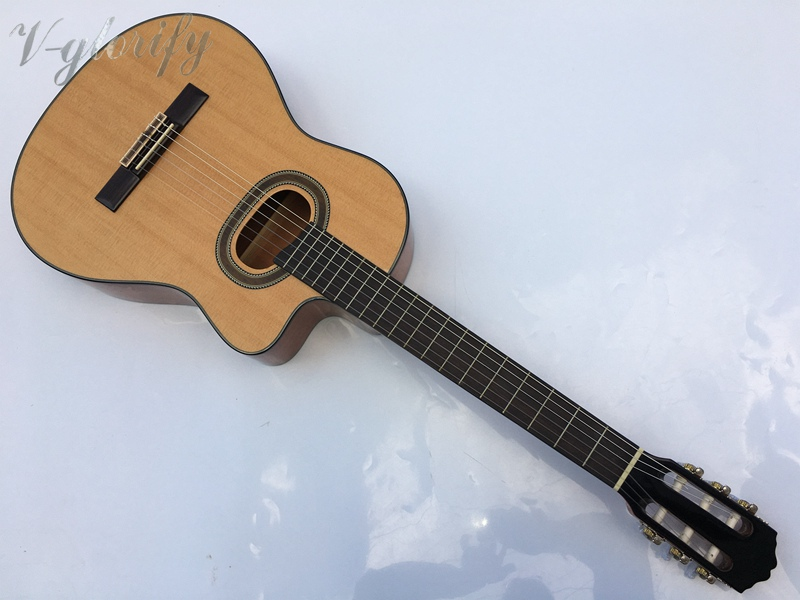 good quality cutway electric classic guitar with free bag with tuner performance cutway classic guitar with hard case
